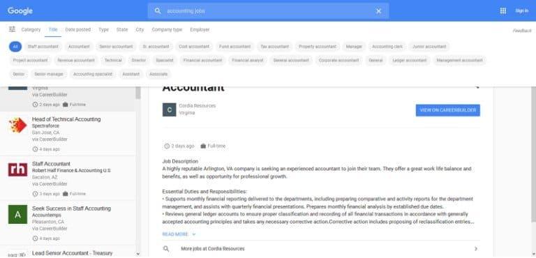 Google for Jobs zeigt alternative Jobtitel zum Suchbegriff an