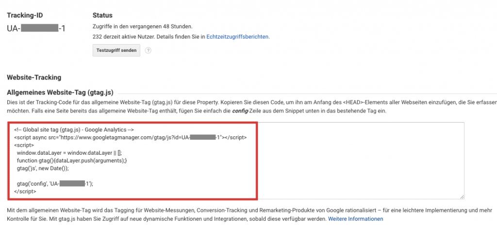 Google Analytics Implementierung Tracking-Code-Snippet aus Google Analytics
