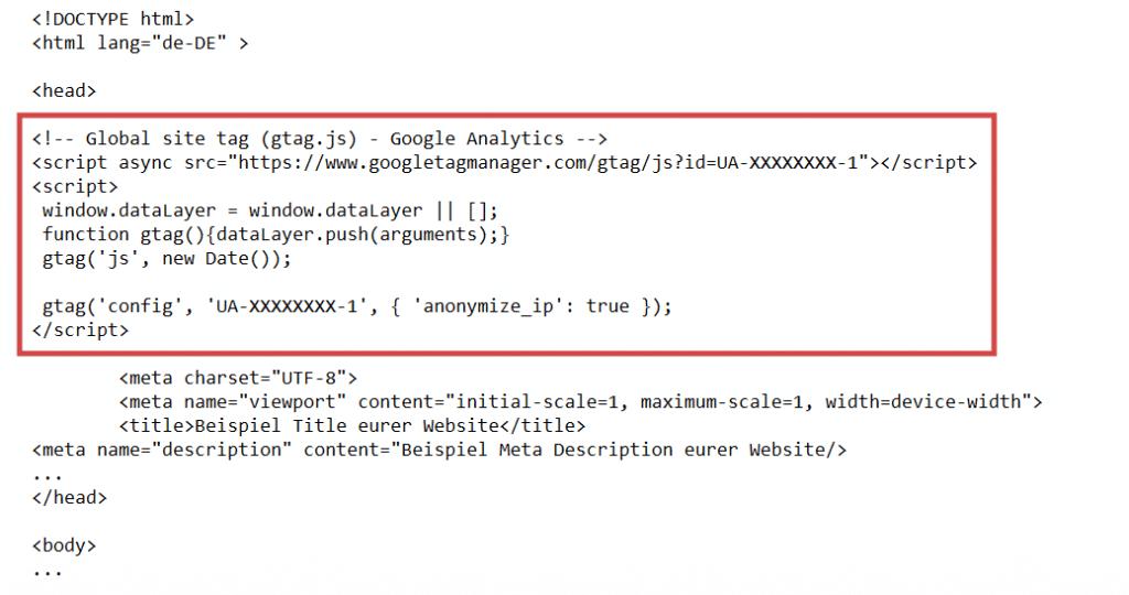 Google Analytics Implementierung Google Analytics-Tracking-Code im Quellcode