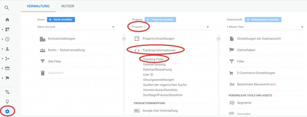Google Analytics Implementierung Pfad der Tracking ID in Google Analytics