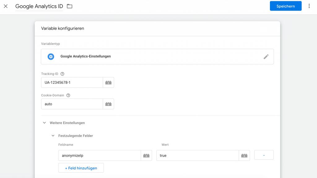 Google Analytics Implementierung Datenschutzkonforme Variable in Google Tag Manager