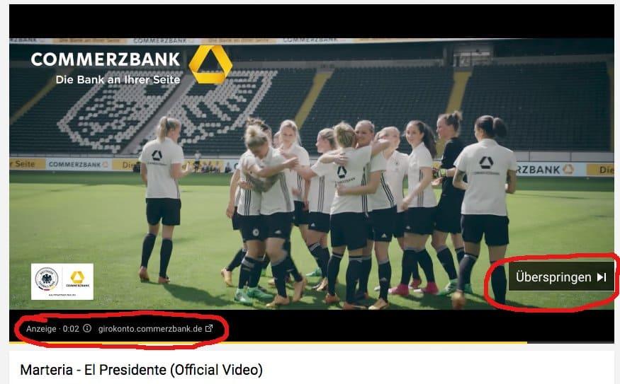 YouTube In Stream Anzeige