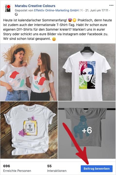 facebook beitrag bewerben