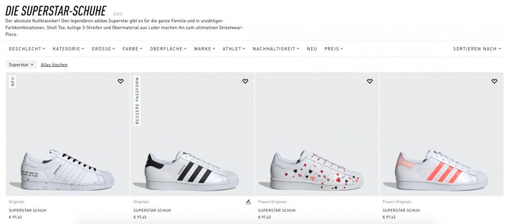 E Commerce SEO adidas Superstar 1