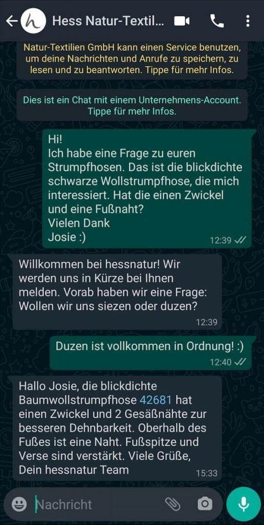 WhatsApp-E-Commerce: Hess Natur beantwortet Kundenfragen via WhatsApp.