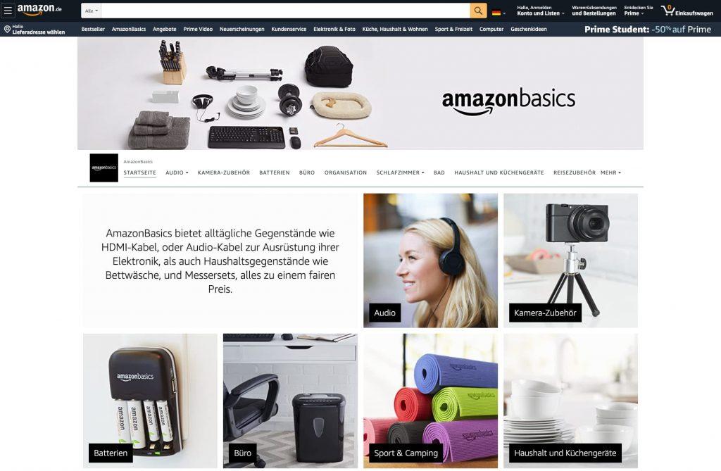 Amazon Store erstellen: Amazon Startseite