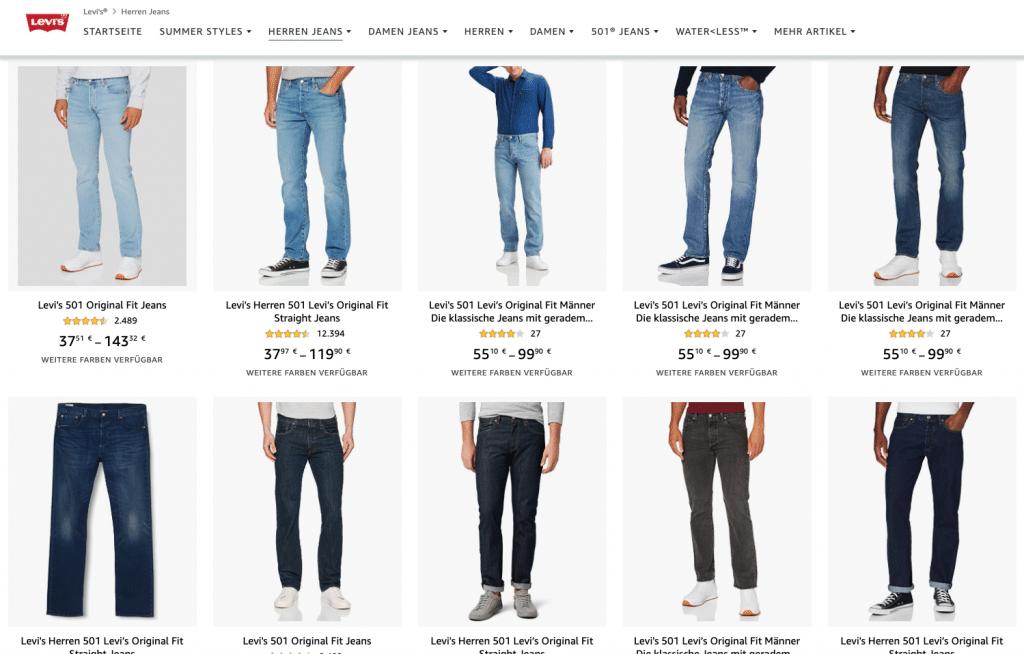 Amazon Store einrichten: Levi's Jeans Store