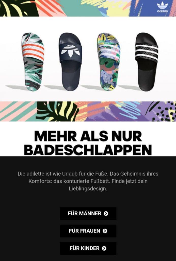 E-Mail-Marketing-Tipps: Adidas verlinkt direkt auf Produktkategorien.