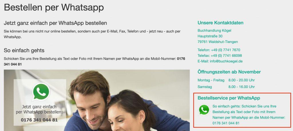 WhatsApp im E-Commerce: Ein Buchhandel bietet WhatsApp-Bestellungen an.