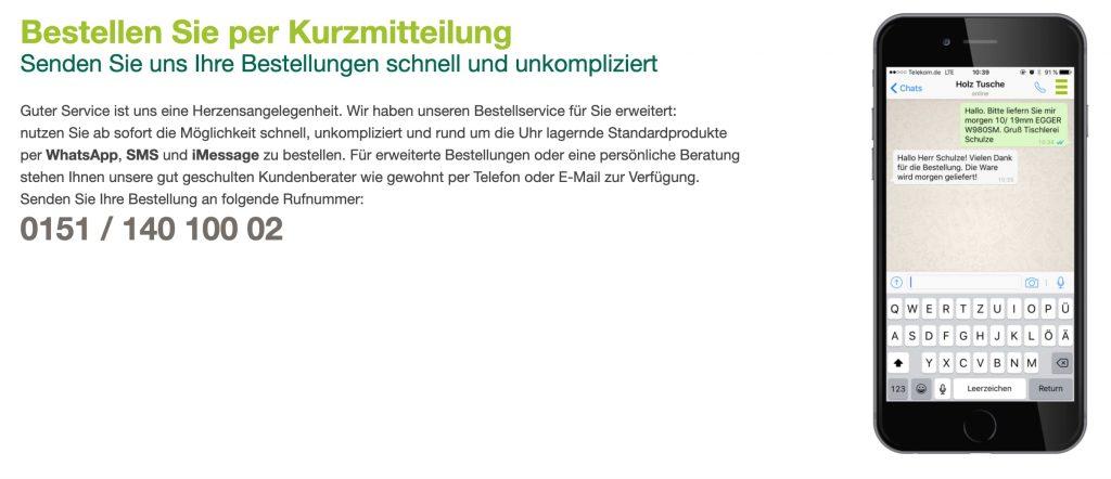 Whatsapp im E-Commerce für B2B: Ein Holzhändler bietet Bestellungen via Whatsapp an.