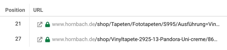 Keyword-Kannibalismus: Sistrix zeigt zwei URLs von Hornbach an, die beide nur schlecht für dasselbe Keyword (Vinyltapete) ranken.
