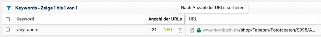 """Keyword-Kannibalismus: Sistrix zeigt in der Spalte """"Anzahl der URLs"""" an, wie viele URLs auf das jeweilige Keyword ranken."""