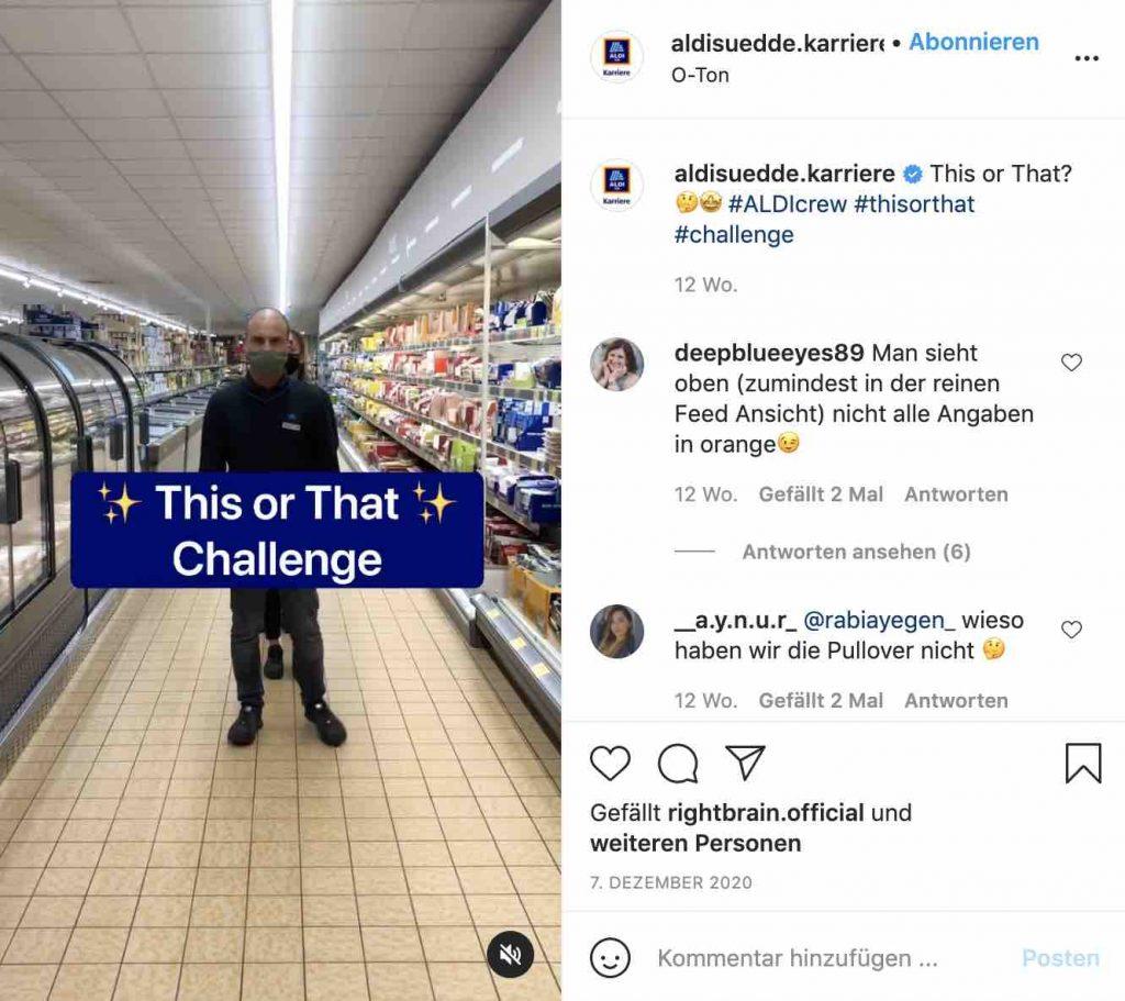 hr marketing auf instagram 2021 reels aldi sued