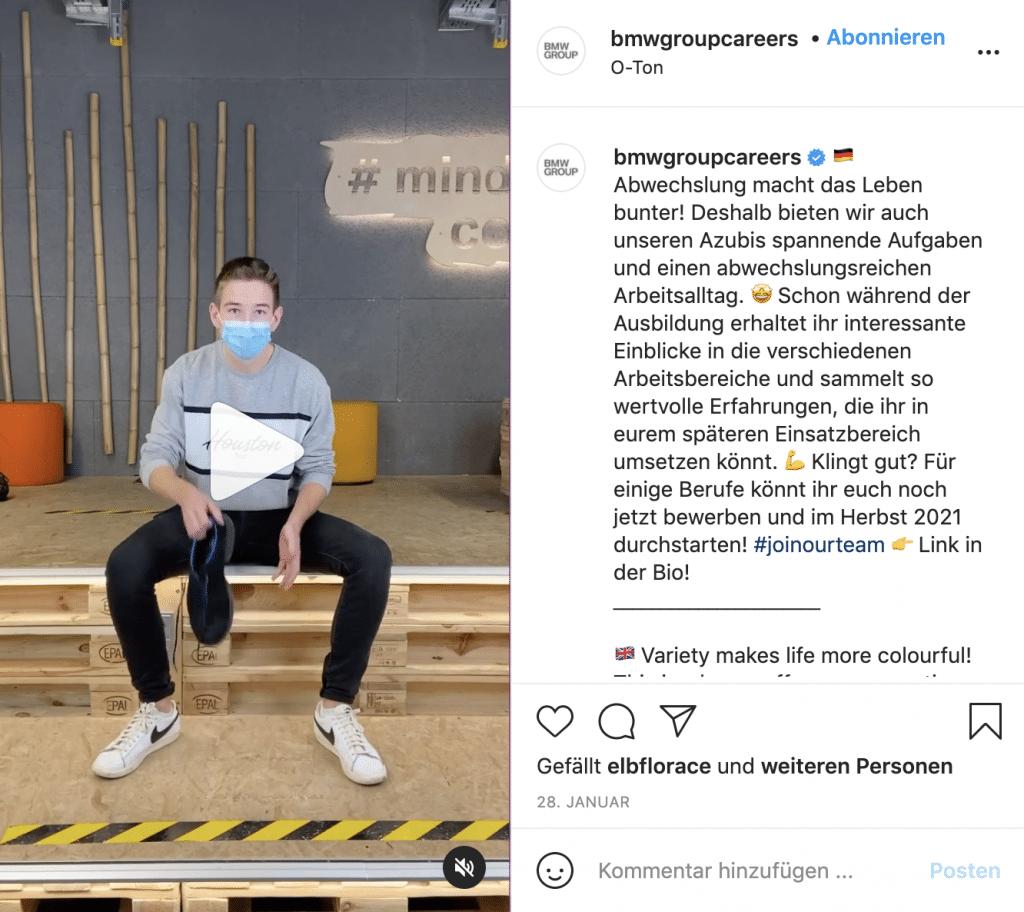 hr marketing auf instagram 2021 reels bmwgroupcareer